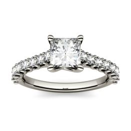 1.48 CTW DEW Square Forever One Moissanite Solitaire with Side Accents Engagement Ring 14K White Gold