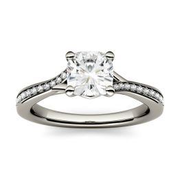 1.23 CTW DEW Cushion Forever One Moissanite Solitaire with Side Accents Engagement Ring 14K White Gold
