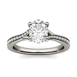 1.03 CTW DEW Oval Forever One Moissanite Solitaire with Side Accents Engagement Ring 14K White Gold