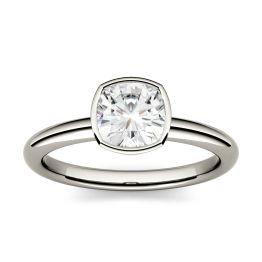 1.10 CTW DEW Cushion Forever One Moissanite Bezel Set Solitaire Engagement Ring 14K White Gold