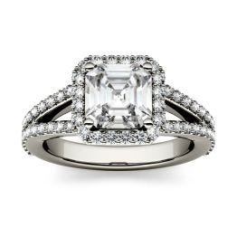 1.98 CTW DEW Asscher Forever One Moissanite Split Shank Halo with Side Accents Engagement Ring 14K White Gold