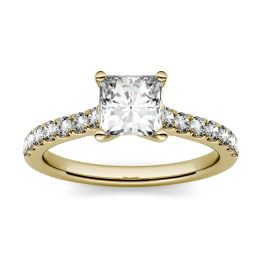 1.18 CTW DEW Square Forever One Moissanite Solitaire with Side Accents Engagement Ring 14K Yellow Gold