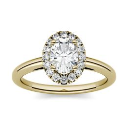 1.06 CTW DEW Oval Forever One Moissanite Halo Engagement Ring 14K Yellow Gold