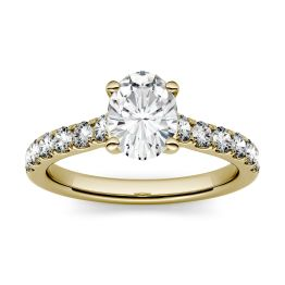 1.26 CTW DEW Oval Forever One Moissanite Solitaire with Side Accents Engagement Ring 14K Yellow Gold