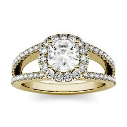 1.74 CTW DEW Cushion Forever One Moissanite Split Shank Halo with Side Accents Engagement Ring 14K Yellow Gold