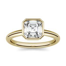 1.30 CTW DEW Asscher Forever One Moissanite Bezel Set Solitaire Engagement Ring 14K Yellow Gold