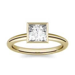 1.00 CTW DEW Square Forever One Moissanite Bezel Set Solitaire Engagement Ring 14K Yellow Gold