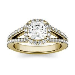 1.75 CTW DEW Cushion Forever One Moissanite Split Shank Halo with Side Accents Engagement Ring 14K Yellow Gold