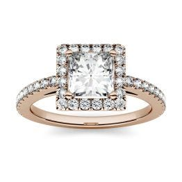 1.32 CTW DEW Square Forever One Moissanite Halo with Side Accents Ring 14K Rose Gold