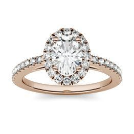 1.28 CTW DEW Oval Forever One Moissanite Halo with Side Accents Engagement Ring 14K Rose Gold