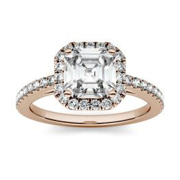 1.71 CTW DEW Asscher Forever One Moissanite Halo with Side Accents Engagement Ring 14K Rose Gold