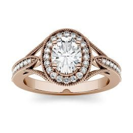 1.12 CTW DEW Oval Forever One Moissanite Milgrain Halo with Side Accents Engagement Ring 14K Rose Gold