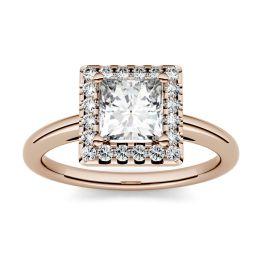 1.20 CTW DEW Square Forever One Moissanite Halo Engagement Ring 14K Rose Gold