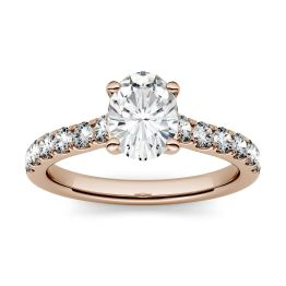 1.26 CTW DEW Oval Forever One Moissanite Solitaire with Side Accents Engagement Ring 14K Rose Gold