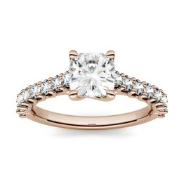 1.58 CTW DEW Cushion Forever One Moissanite Solitaire with Side Accents Engagement Ring 14K Rose Gold