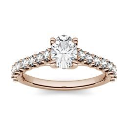 1.38 CTW DEW Oval Forever One Moissanite Solitaire with Side Accents Engagement Ring 14K Rose Gold