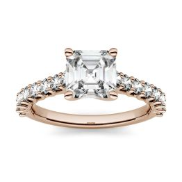 1.78 CTW DEW Asscher Forever One Moissanite Solitaire with Side Accents Engagement Ring 14K Rose Gold
