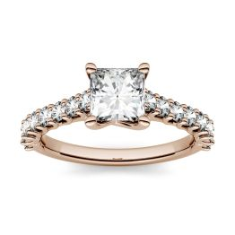 1.48 CTW DEW Square Forever One Moissanite Solitaire with Side Accents Engagement Ring 14K Rose Gold