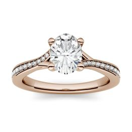 1.03 CTW DEW Oval Forever One Moissanite Solitaire with Side Accents Engagement Ring 14K Rose Gold