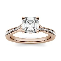 1.43 CTW DEW Asscher Forever One Moissanite Solitaire with Side Accents Engagement Ring 14K Rose Gold