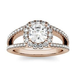 1.74 CTW DEW Cushion Forever One Moissanite Split Shank Halo with Side Accents Engagement Ring 14K Rose Gold