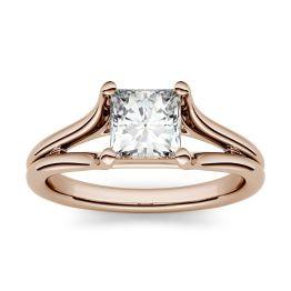 1.00 CTW DEW Square Forever One Moissanite Split Shank Solitaire Engagement Ring 14K Rose Gold