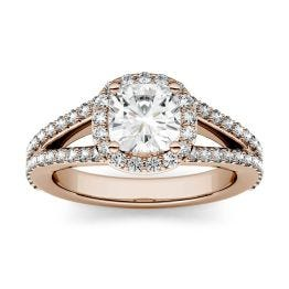 1.75 CTW DEW Cushion Forever One Moissanite Split Shank Halo with Side Accents Engagement Ring 14K Rose Gold