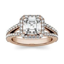 1.98 CTW DEW Asscher Forever One Moissanite Split Shank Halo with Side Accents Engagement Ring 14K Rose Gold