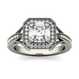 1.54 CTW DEW Asscher Forever One Moissanite Milgrain Halo with Side Accents Engagement Ring 14K White Gold