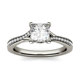 1.03 CTW DEW Square Forever One Moissanite Solitaire with Side Accents Engagement Ring 14K White Gold