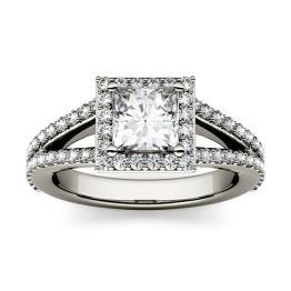 1.68 CTW DEW Square Forever One Moissanite Split Shank Halo with Side Accents Engagement Ring 14K White Gold