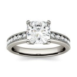 1.41 CTW DEW Cushion Forever One Moissanite Solitaire with Milgrain Side Accents Engagement Ring 14K White Gold