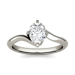 0.90 CTW DEW Oval Forever One Moissanite Solitaire Bypass Engagement Ring 14K White Gold