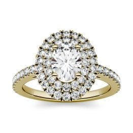 1.55 CTW DEW Oval Forever One Moissanite Double Halo with Side Accents Engagement Ring 14K Yellow Gold