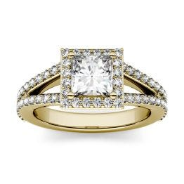 1.68 CTW DEW Square Forever One Moissanite Split Shank Halo with Side Accents Engagement Ring 14K Yellow Gold