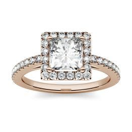 1.42 CTW DEW Square Forever One Moissanite Halo with Side Accents Engagement Ring 14K Rose Gold