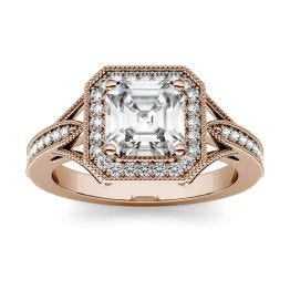 1.54 CTW DEW Asscher Forever One Moissanite Milgrain Halo with Side Accents Engagement Ring 14K Rose Gold