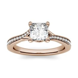 1.13 CTW DEW Square Forever One Moissanite Solitaire with Side Accents Engagement Ring 14K Rose Gold