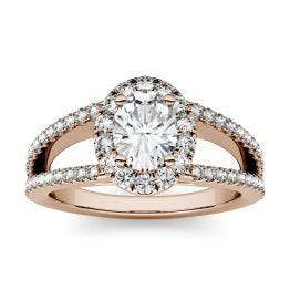 1.53 CTW DEW Oval Forever One Moissanite Split Shank Halo with Side Accents Engagement Ring 14K Rose Gold