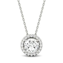 1.19 CTW DEW Round Forever One Moissanite Halo Necklace 14K White Gold