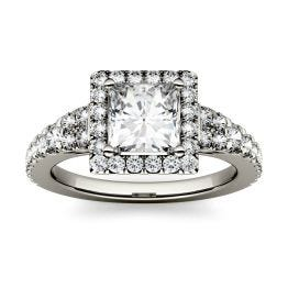 1.58 CTW DEW Square Forever One Moissanite Halo with Side Accents Ring 14K White Gold