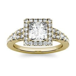 1.68 CTW DEW Square Forever One Moissanite Halo with Side Accents Ring 14K Yellow Gold