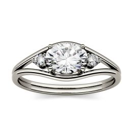 0.96 CTW DEW Oval Forever One Moissanite East-West Fashion Ring 14K White Gold