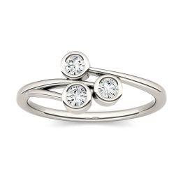 0.30 CTW DEW Round Forever One Moissanite Three Stone Bezel Set Ring 14K White Gold