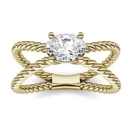 0.90 CTW DEW Oval Forever One Moissanite Split Shank Fashion Ring 14K Yellow Gold