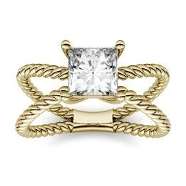 1.00 CTW DEW Square Forever One Moissanite Split Shank Solitaire Fashion Ring 14K Yellow Gold