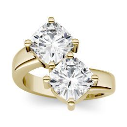 4.80 CTW DEW Cushion Forever One Moissanite Two Stone Ring 14K Yellow Gold