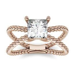 1.00 CTW DEW Square Forever One Moissanite Split Shank Solitaire Fashion Ring 14K Rose Gold