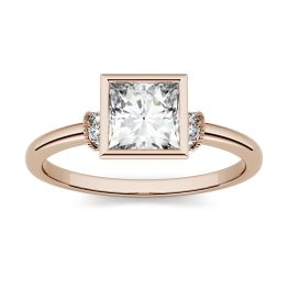 1.04 CTW DEW Square Forever One Moissanite Bezel Set Fashion Ring 14K Rose Gold