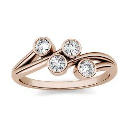 0.40 CTW DEW Round Forever One Moissanite Bezel Set Four Stone Fashion Ring 14K Rose Gold